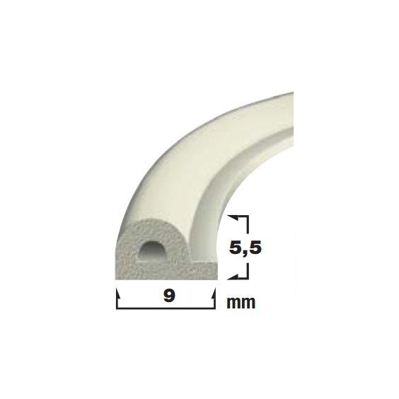 Купить Уплотнитель самоклеющийся белый 9x5.5мм