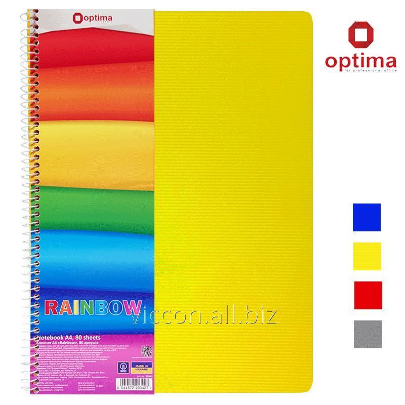 Купить Тетрадь А4 с цветными разделителями, 80 листов, на боковой спирали, клетка, OPTIMA Rainbow