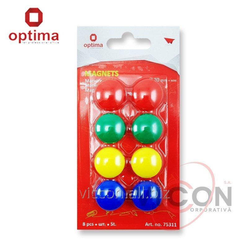 Купить Набор магнитов, 8 штук, диаметр 20 мм, OPTIMA