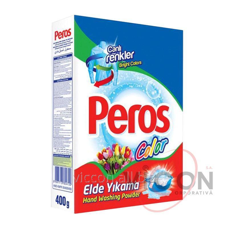 Купить PEROS Стиральный порошок для ручной и машинной стирки 400 ГР. в коробке, White Bright для белого белья и цветного белья