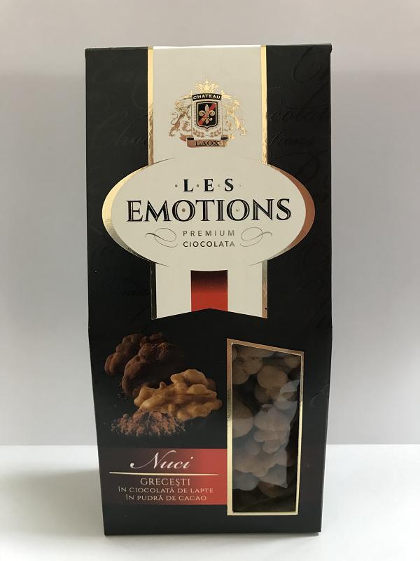 Premium Ciocolata  Les Emotions:  Nuci grecesti in  ciocolata de lapte în pudra de cacao   125 gr. Грецкие орехи в молочном шоколаде в какао пудре