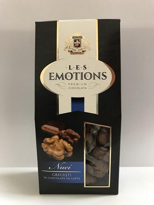 Premium Ciocolata  Les Emotions: Nuci grecesti in  ciocolata de lapte  125 gr Греческие орехи в молочном шоколаде