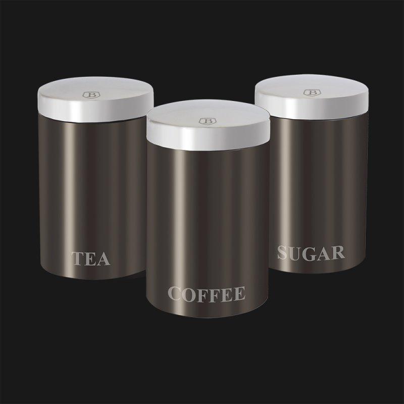 """Купить Набор емкостей для круп/кофе/чая/сахара 3 шт Carbon """"1/8"""""""