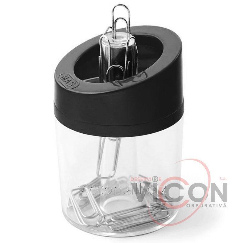 Купить Скрепочница магнитная пластиковая, MAS-802, черная