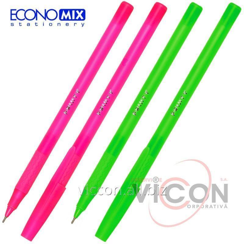 Купить Ручка масляная ECONOMIX FRUITY 0,7 мм. Корпус асорти, пишет синим.