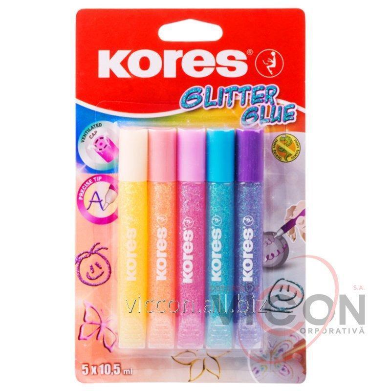 Купить Декоративный клей с блестками KORES