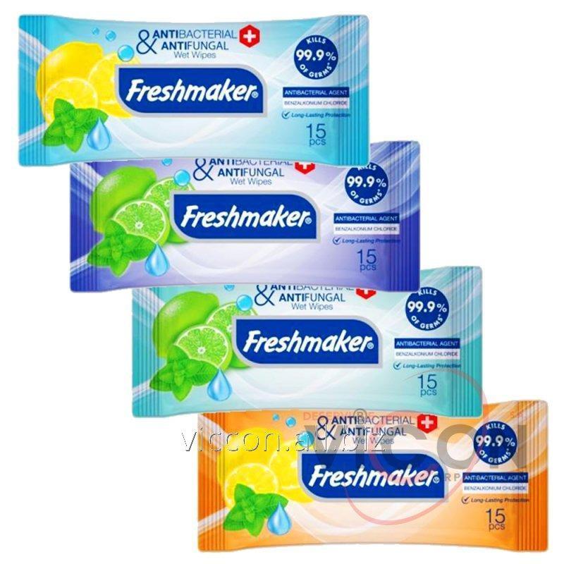 Купить Влажные антибактериальные салфетки FRESHMAKER, 15 шт