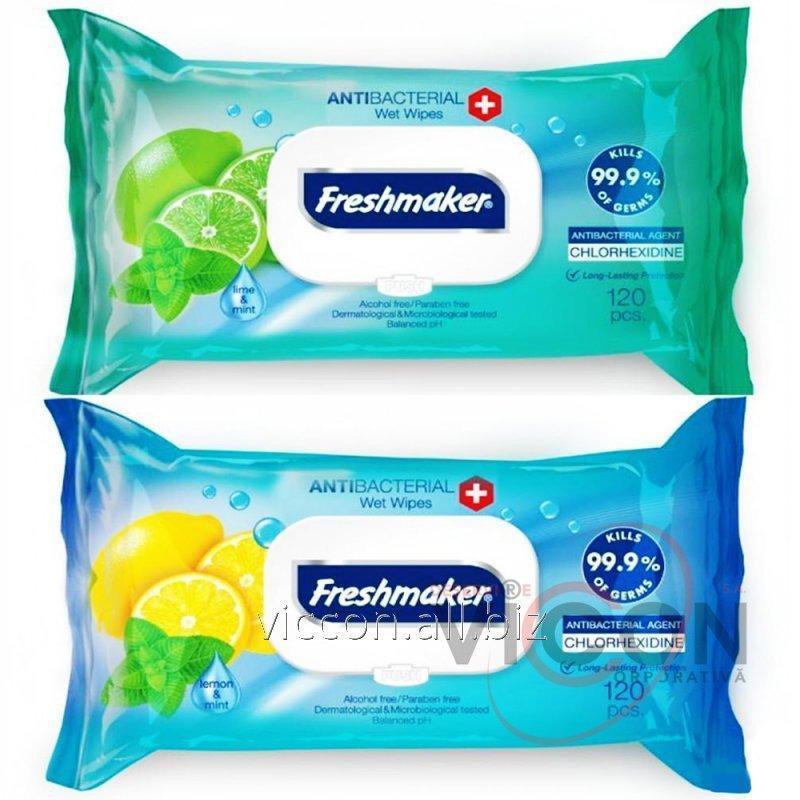 Купить Влажные антибактериальные салфетки с крышкой FRESHMAKER, 120 шт
