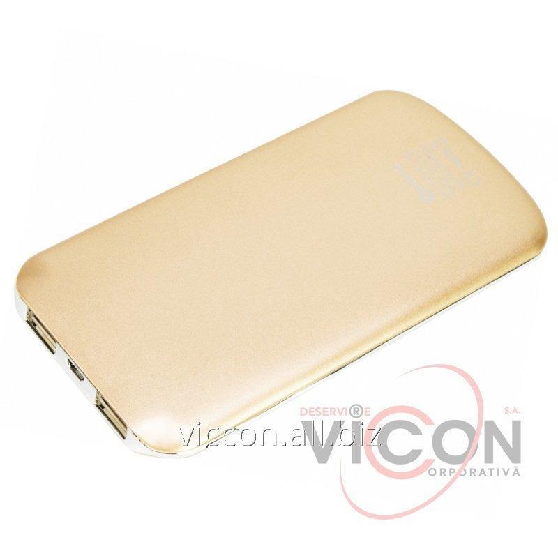 Купить Мобильная батарея (Power Bank) 5 000 mAh, 2*USB output, 5V 2.1A, золотая, Optima 4103