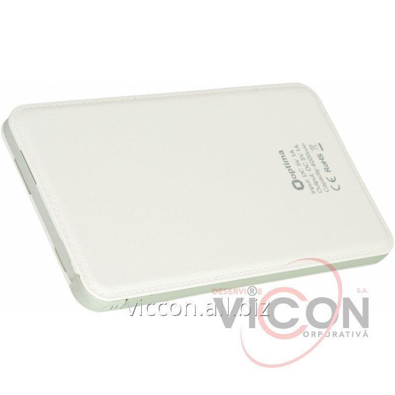 Купить Мобильная батарея (Power Bank) 4 000 mAh, 5V 1.0A, белая, Optima 4104