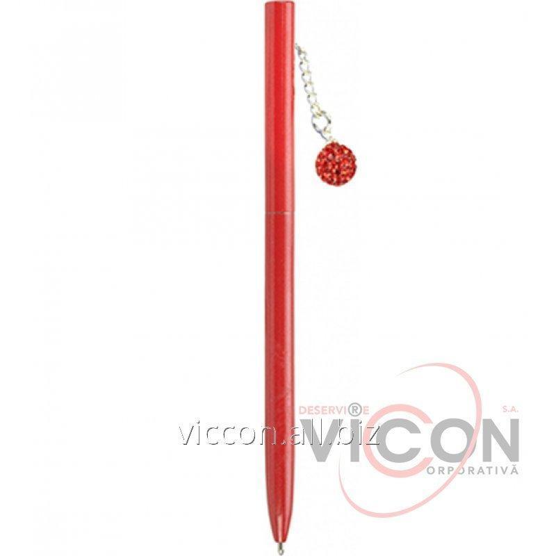 Купить Ручка металлическая красная с сияющим брелоком, покрытым кристаллами