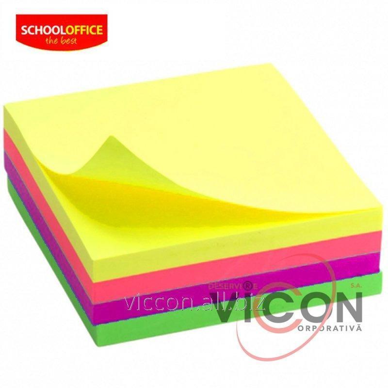 Купить Бумага для заметок Economix, 4 неоновых цвета , 75х75, 350 л. SCHOOLOFFICE