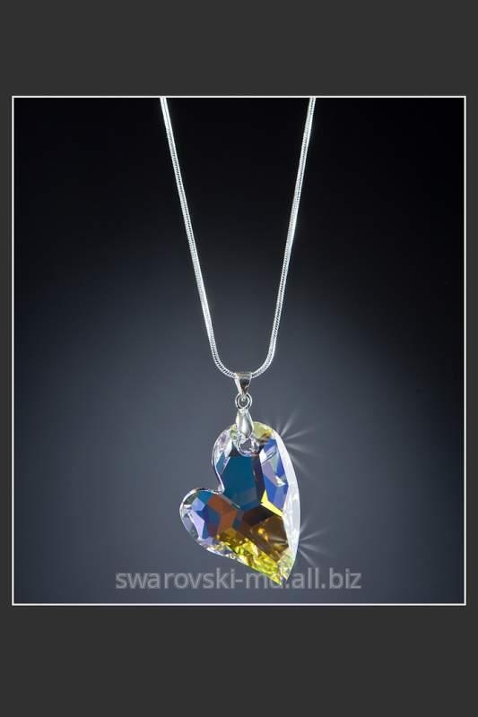 """Купить Подвеска """"Кокетливое сердечко"""", кристаллы SWAROVSKI"""