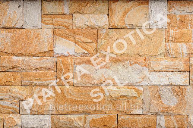 Камень натуральный облицовочный 5+10см скол цвет: Персик