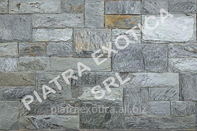 Камень натуральный облицовочный 5+10см скол цвет: Silver Shine