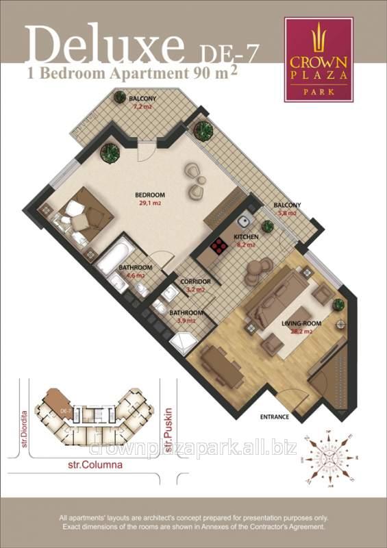 cumpără Apartamente de elita. Apartamente deluxe cu 2 camere la primul etaj