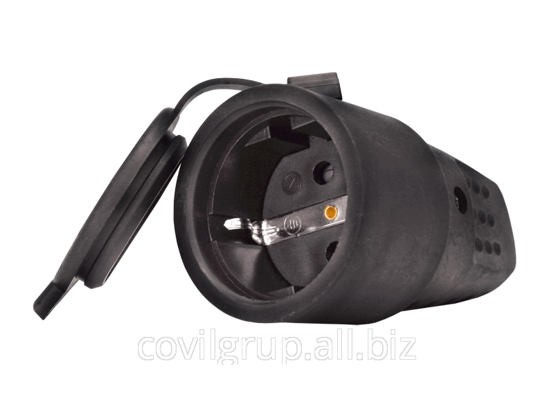 T-Pl socket portable with a cap 1ph. 16A. (rubber)
