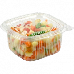Disposable containers for food from polypropylene.