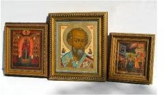 Icons in a wooden frame from the Italian baguette