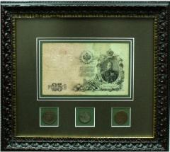 Coins and banknotes in a frame from the Italian