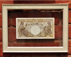 Banknotes in a frame from the Italian baguette