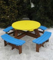 Детский стол со скамейками Модель П08
