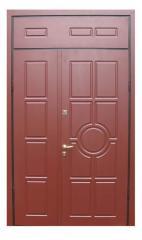 Door steel dvupolny with a transom