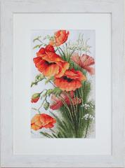 Embroidery cross of B213 Red Poppies Cross stitch