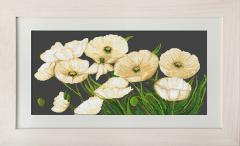Embroidery cross of B274 White Poppies Cross