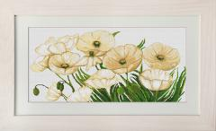 Embroidery cross of B273 White Poppies Cross