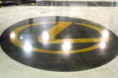 Logo on a concrete or polymeric floor