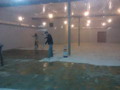 The removing dust impregnation of concrete floors.