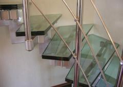 Stylish ladder from glass for business centers and