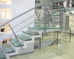 Safety tripleksny shock-proof glass for facades
