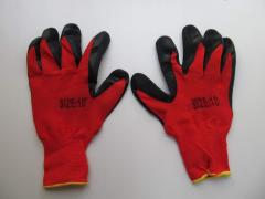 Knitted working gloves with latex covering
