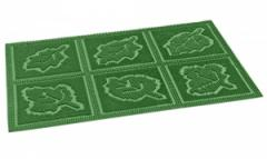 Rubber rug with decorative design
