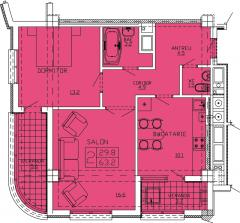 Квартиры 2-х комнатные  Apartament 43