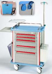 The cart for the emergency help with a support for