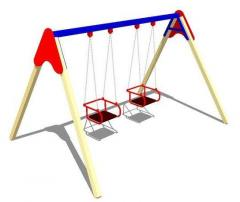 Swing on wooden racks with a flexible suspension