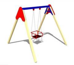 Swing on wooden racks single