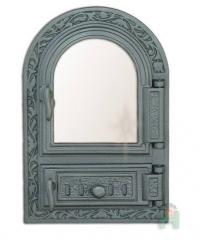 Doors for furnaces with fire-resistant glass. To