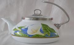 The enameled teapot with a glass cover