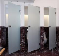 Toilet partitions from glass