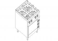 Плита газовая 4-х конфорочная с электрической