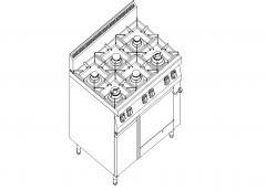 Плита газовая 6-ти конфорочная с газовой духовкой