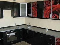 Кухня с фотофасадом (водопад) с подсветкой
