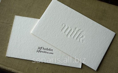 Business cards with relief stamping