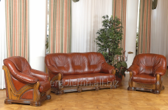 Leather upholstered furniture for a drawing room