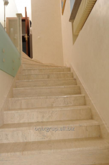 Ladder from a natural stone of Travertino Classic