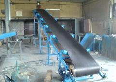 The tape conveyor for supply of mix in the bunker